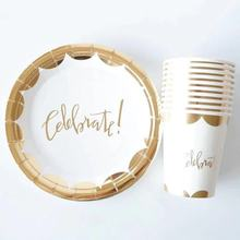 Celebrate Party Gold Foil Disposable Tableware Set Paper Plates/Cups/Napkins/Straws Adult Birthday Party Decor Wedding Party Sup celebrate party gold foil disposable tableware set paper plates cups napkins straws adult birthday party decor wedding party sup