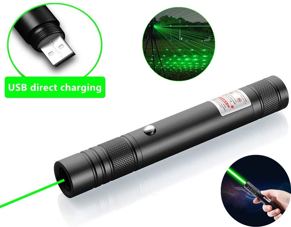 Green Laser pointer USB Rechargeable Built-in battery Green Laser Sight 10000m 5mw Adjustable Focus Lazer laser Pen pointer