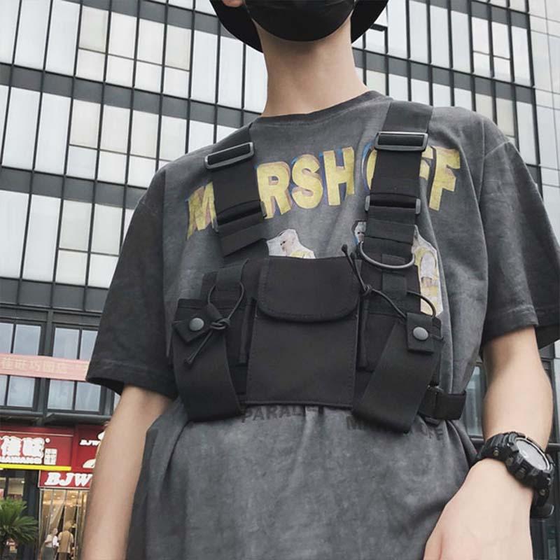 Men Women Tactical Chest Rig Bag Multi-pocket Vest Hip Hop Streetwear Waist Packs Functional Tactical Vest Chest Bags West Kanye
