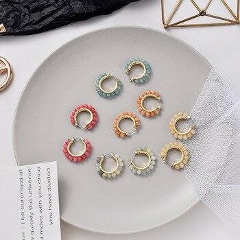 Korean Simple Beautiful Colorful Handmade Beaded Woven Hoop Earrings Temperament Fashion Female Jewelry Accessories