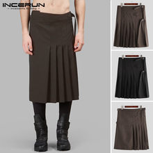 INCERUN Scottish Men Skirts Vintage Solid Color Personality Trousers Retro Kilt Traditional Streetwear Mens Pleated Skirts S-5XL(China)