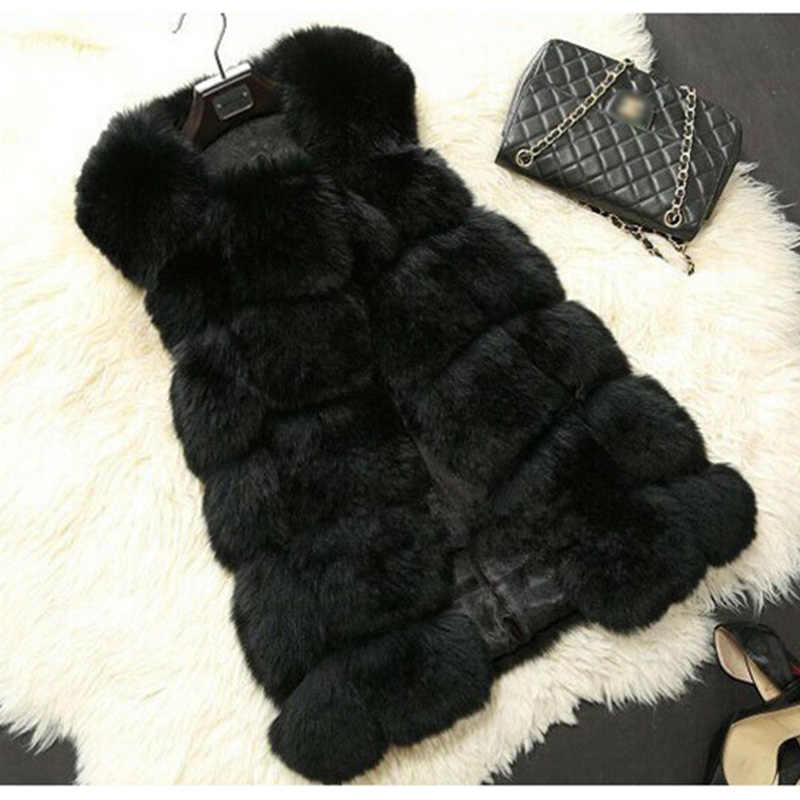 2019 Chaleco de piel de zorro artificial importado de alta calidad para mujer y chaqueta de moda Otoño Invierno para damas abrigo de piel sintética mullido S-3XL