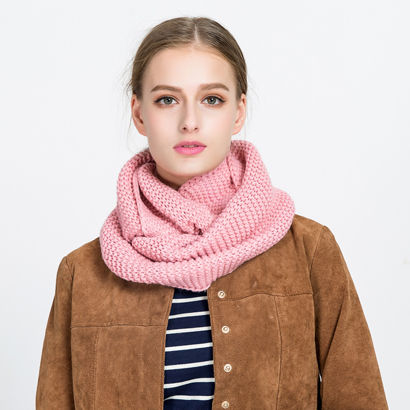 Solid Knitted Cable Ring Scarf Women Winter Thick Warm Round Neck Neckchief Female Fashion Wild Soft Confortable Cashmere Scarve