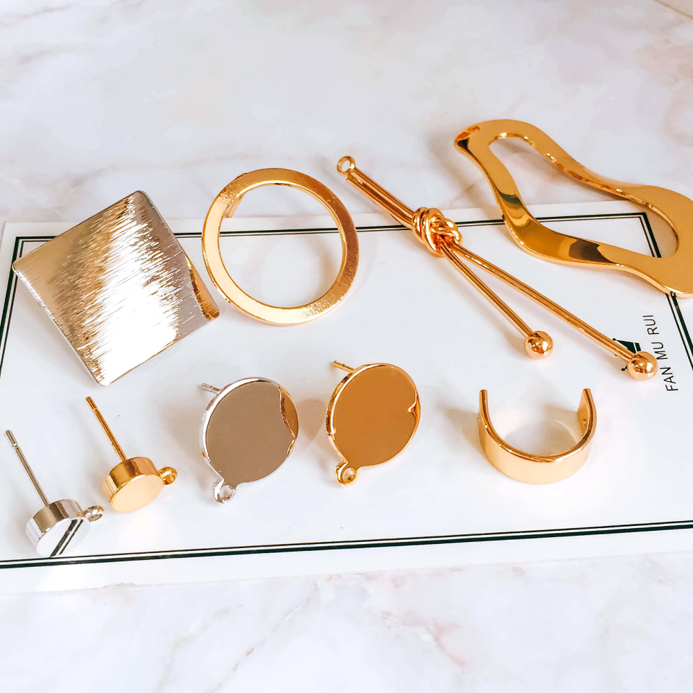 Real Gold Silver Color Plated Stud Earring Diy Material Pendant Necklace Eardrop Accessories Charms Jewelry Component 4pcs