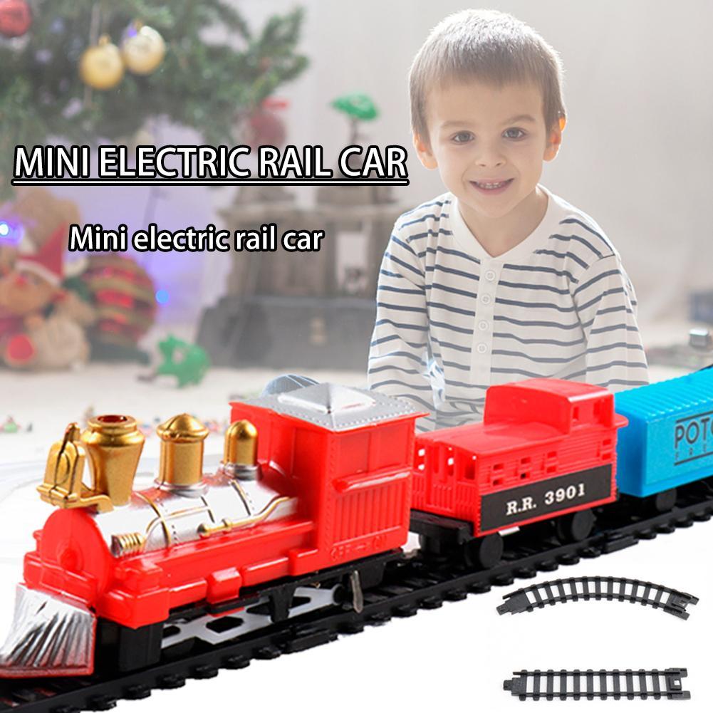 Детская электрическая игрушка Рождественский электрический вагон поезд игрушка набор железнодорожных поездов гоночный Дорожный
