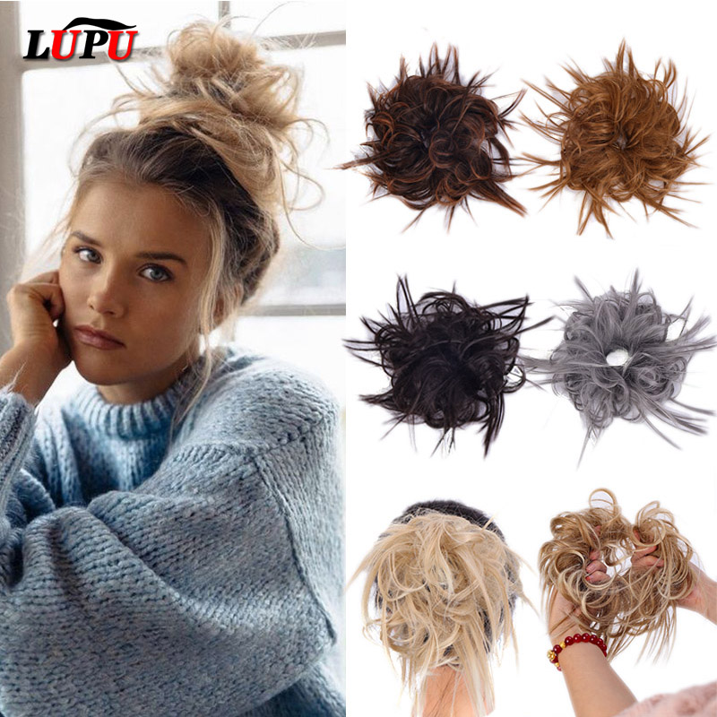 LUPU Synthetic Chignon Messy Scrunchie Elastic Band Hair Bun Straight Updo Hairpiece High Temperture Fiber Natural Fake Hair