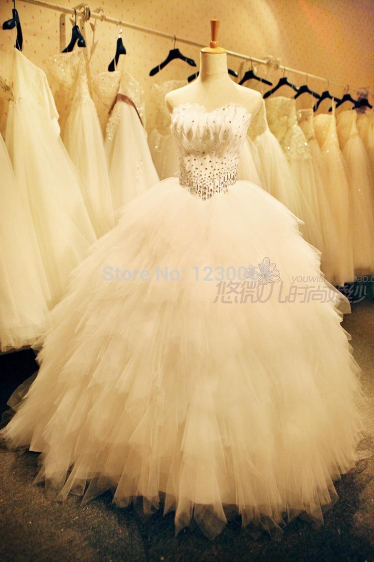 Free Shipping Sexy Romantic Crystal 2016 Casamento Feathers Sweetheart Vestido De Noiva Renda Ball Bridal Gown Wedding Dress