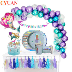 Little Mermaid Party Supplies Mermaid Theme Birthday Decor Mermaid Banner Balloon For Kids Favors Wedding Party Decorations
