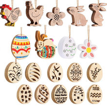 Easter Bunny Pendant Creative Home Decoration DIY Wooden Pendant 10pcs(China)