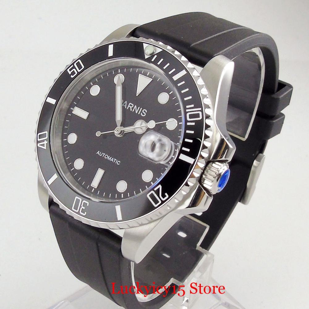 Parnis estilo de negócios prata 40mm relógio automático men sapphire vidro rotativo moldura mingzhu movimento cinta borracha - 2