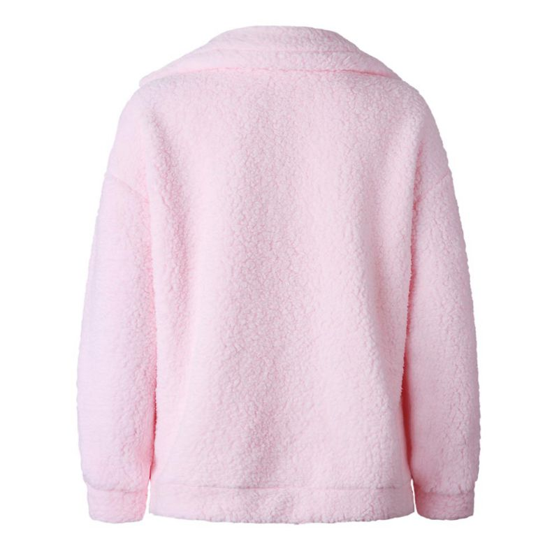 Elegant Faux Fur Coat Women 18 Autumn Winter Warm Soft Zipper Fur Jacket Female Plush Overcoat Pocket Casual Teddy Outwear 33