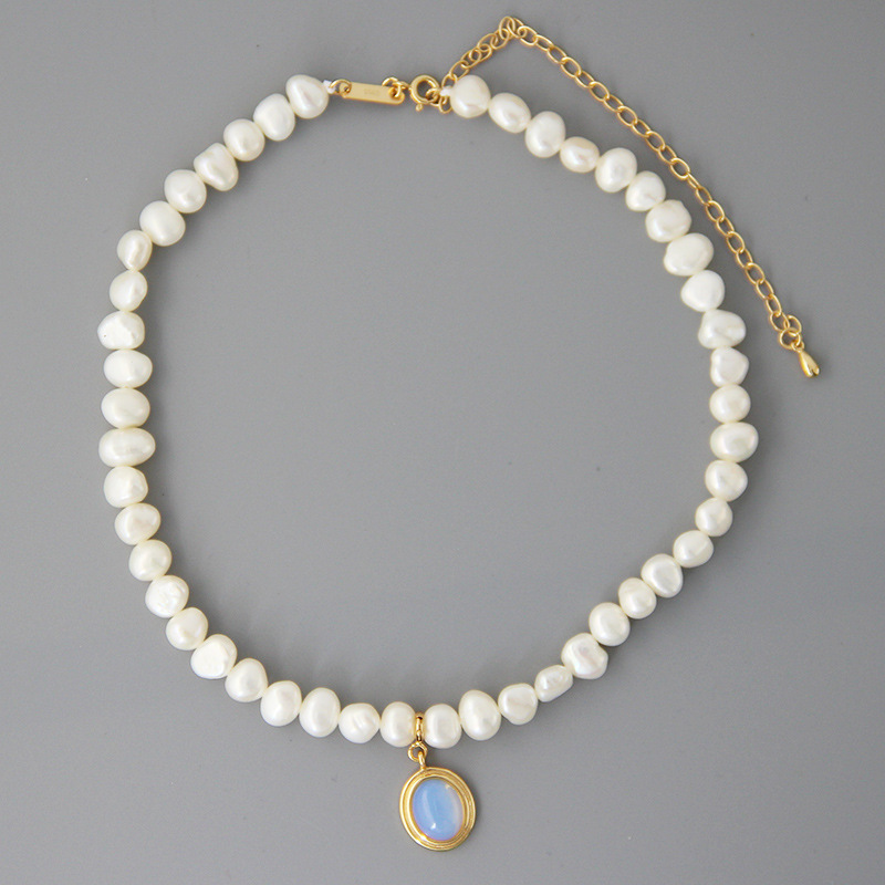 Silvology Natural Pearl Moonstone Womens Necklace 925 Sterling Silver Gold Elegant Luxurious Pendant Necklace Friendship Jewelry-in Necklaces from Jewelry & Accessories