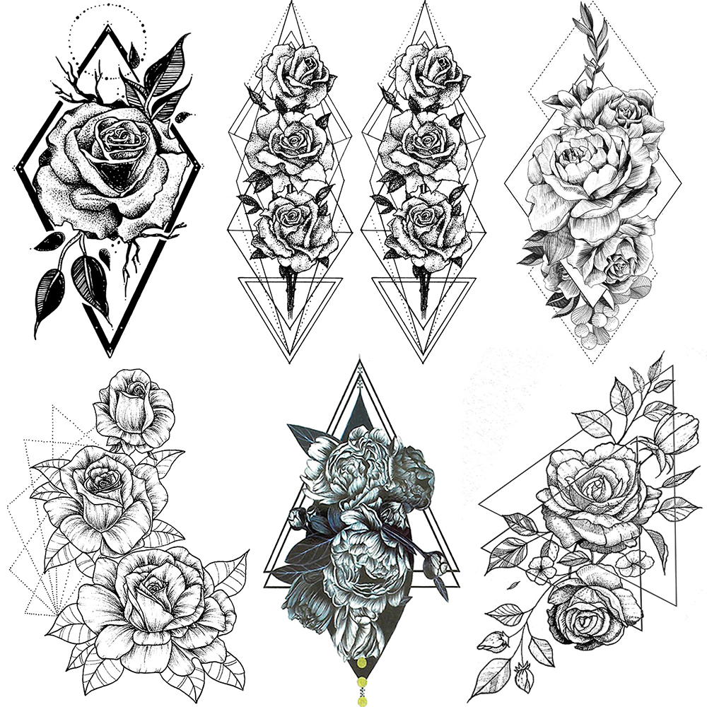 Fanrui Geometry Triangle Rose Temporary Tattoo For Women Henna Flower Tatoo Sticker Waterprooof Fake Peony Tattoo Body Art Decal