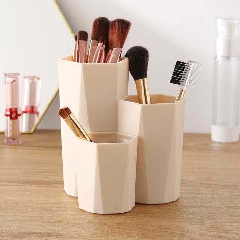 Ev ve Bahçe'ten Makyaj Organizatörleri'de 3 kılıfları kozmetik fırça alıcı kutusu masa alıcı kutusu kozmetik oje kozmetik raf kozmetik araçları kalem rafı title=