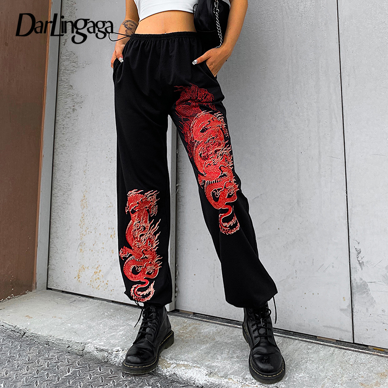 Darlingaga Streetwear Dragon Print Loose Sweatpants Women Pants Drawstring Chinese Style Hip Hop High Waist Pants Trousers Capri