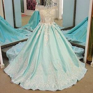 Image 3 - LS21700 חדש כדור שמלת ערב שמלות תחרה עד בחזרה חזרה קצר שרוולי תחרת הערב רשמי שמלות שמלות אור ירוק אמיתי תמונות