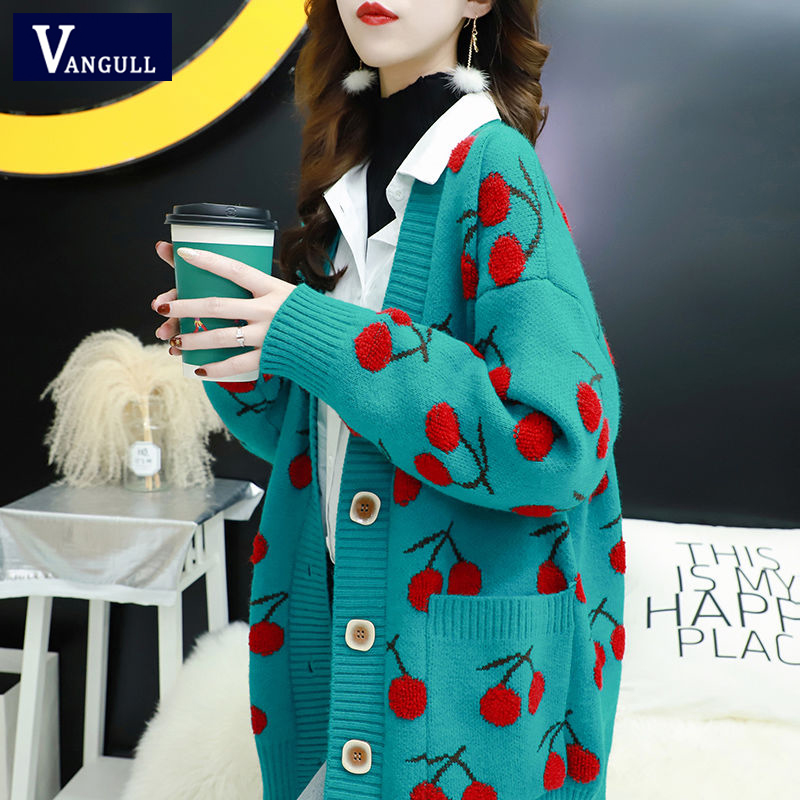 Vangull Fruit Printting Knitted Women Sweater Cardigans Single Breasted Long Sleeve Cardigans Korean Style Loose Sweater Tops