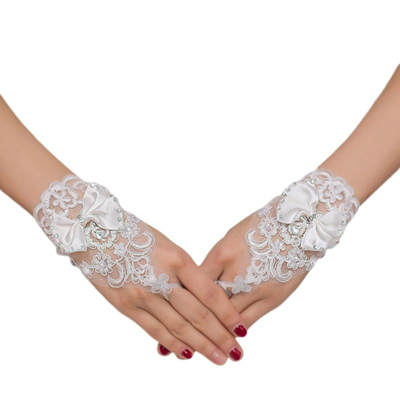 Embroidery Lace Short Gloves Satin Bowknot Rhinestone Ribbon Wedding Mittens