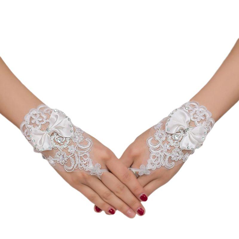 Embroidery Lace Short Gloves Satin Bowknot Rhinestone Ribbon Wedding Mittens