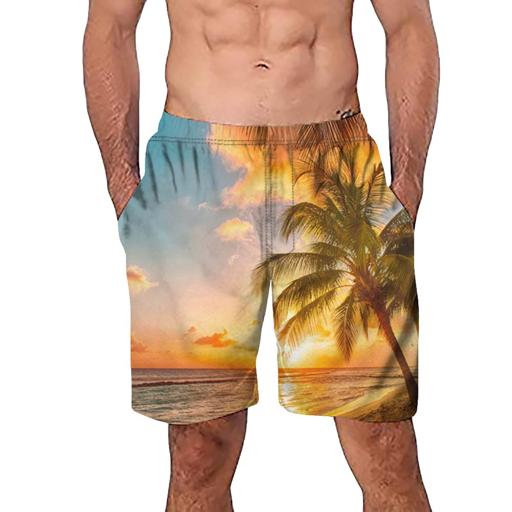 Pants Short Trunks Beach-Surfing Casual Trouser 3d-Tree-Printed Work Quick-Dry Men