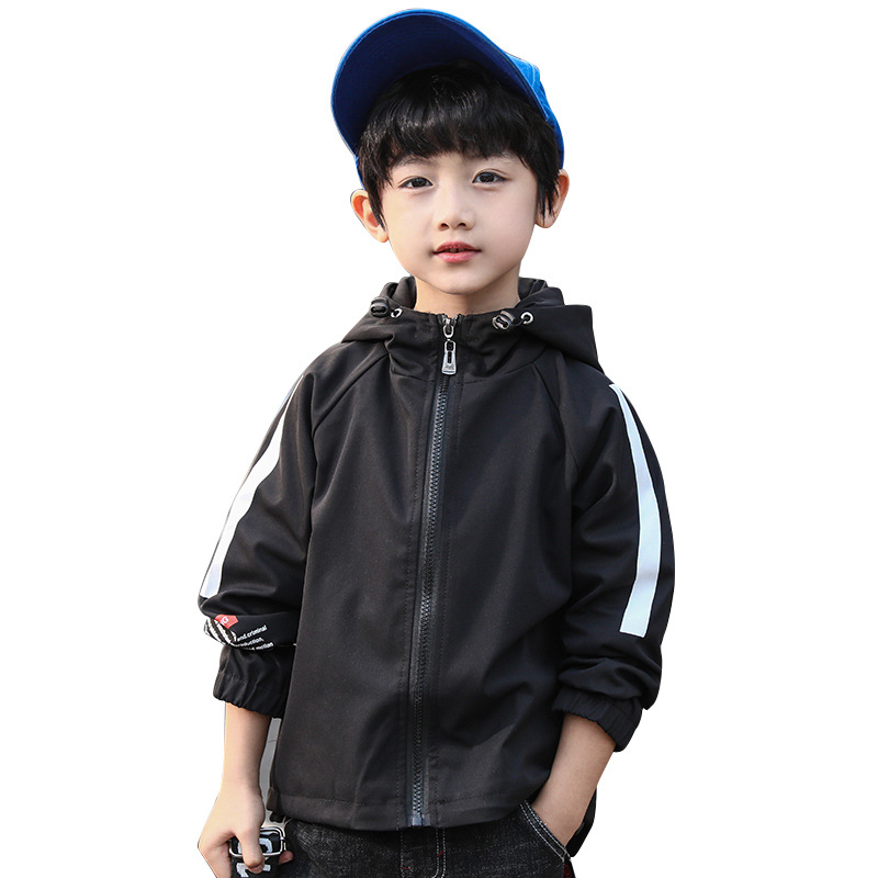 Boys Casual Cotton Jacket 2019 Autumn New Product Big Children 39 s Webbing Letter Shirt Boy Kids Long Trench Zipper Windproof Coat in Jackets amp Coats from Mother amp Kids