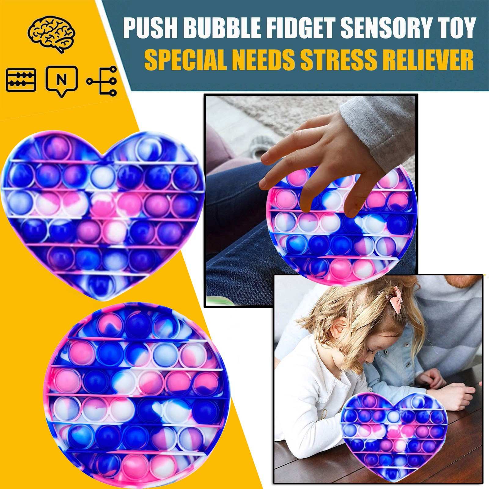 Funny Fidget Toys Simple Dimple Poppit Toy Bubble Sensory Toy For Adult Kids Stress Reliever Autism Gift ?????????? ???? Drop img5