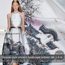 Chinese Style Positioning Flower Heavy Silk Fabric Cheongsam Dress Fabric Silk Silk Stretch Satin