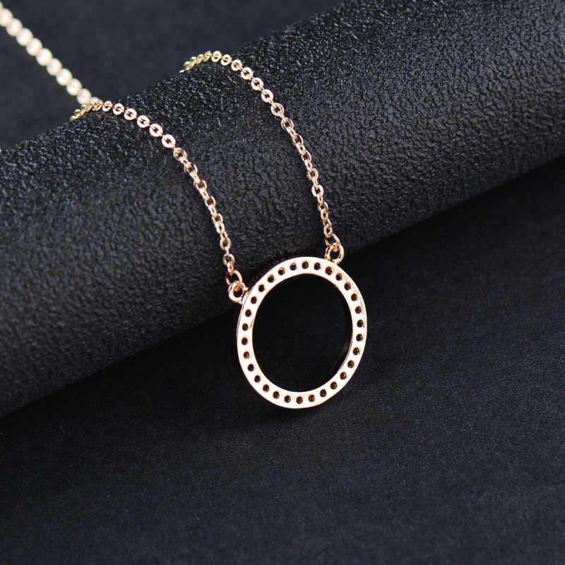 Sinleery brilhante pavimentado minúsculo crysral círculo redondo colares & pingentes prata rosa cor de ouro corrente jóias para mulher xl089 ssb
