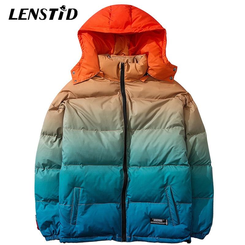 LENSTID hommes Hip Hop Outwear à capuche veste coupe-vent hiver 2019 Streetwear dégradé de couleur rembourré Parka Harajuku Trench manteaux