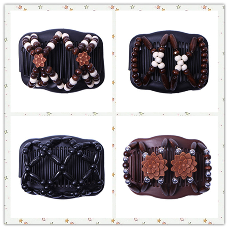New Vintage Elastic Hairpin Stretch Hair Comb Hot Sales Beaded Hair Magic Comb Clip Beads Pin Ladies Hair Accessories