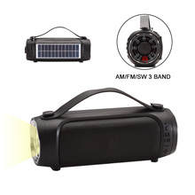 NNS NS-S9 Bluetooth Speaker AM/FM/SW Radio Portable Outdoor Mp3 Player With 1W Solar Panel Support USB TF AUX LED Flashlight