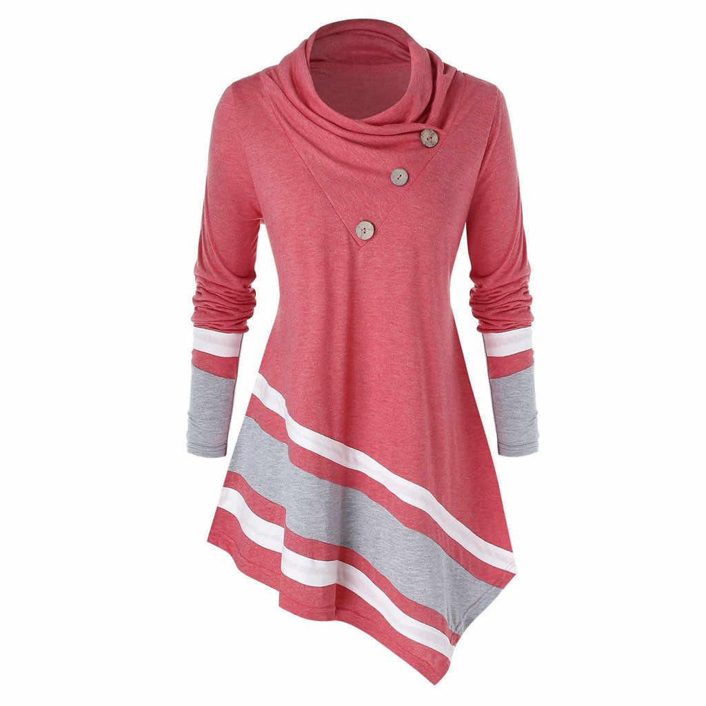 حجم كبير 5XL موضة الياقة المدورة بلوزة عادية الشتاء السيدات مخطط تونك القمم أنثى المرأة طويلة الأكمام قميص Blusas البلوز