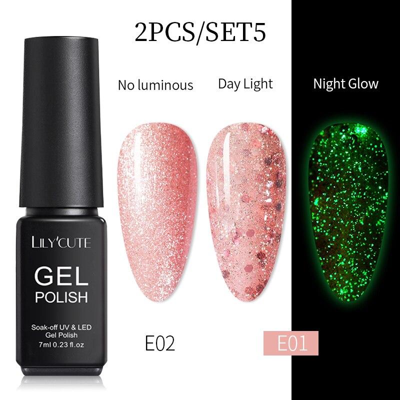 Светящийся розовый Золотой Гель-лак для ногтей LILYCUTE, ночной светящийся в темноте флуоресцентный лак, Полупостоянный отмачиваемый Гель-лак ...