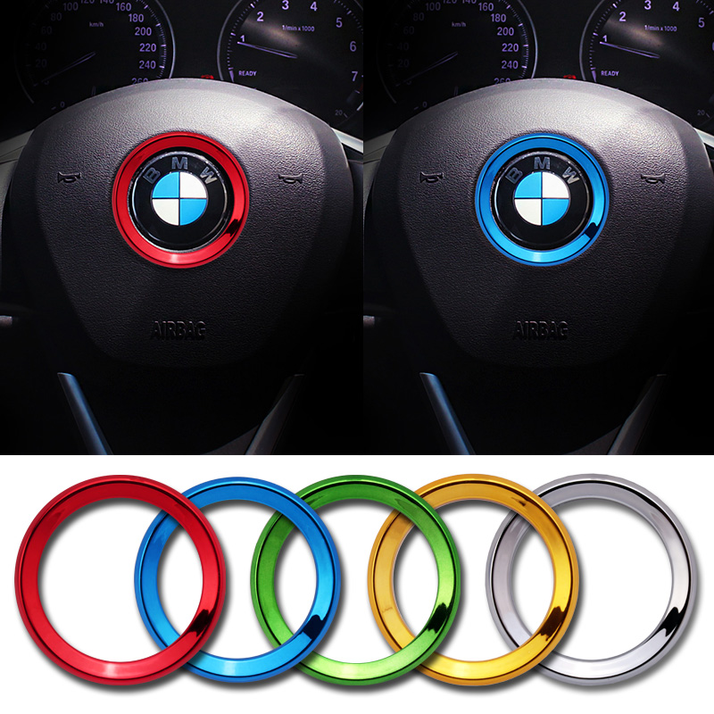 Car Steering Wheel Logo Circle Trim Sticker for M3 M5 E36 E46 E60 E90 E92 BMW X1 F48 X3 X5 X6 E61 F10 F07 M5 E63 E64 Accessories image