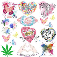 Prajna Butterfly Iron On Transfers Vynil Heat Transfer Crown Unicorn Heart Ironing Stickers T-shirt Thermal Patches For Clothing