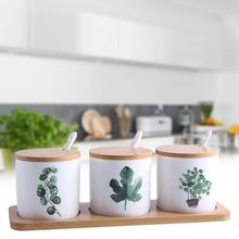 3PCS/Set Ceramic Seasoning Bottle Set Nordic Innovative Home Green Planting Spice Box Kitchen Supplies ланчбоксы наборы посуды caki home 3pcs set 50 chds003