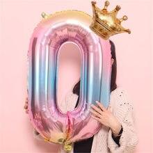 Ballons numérotés en feuille, 32 pouces, décoration de fête d'anniversaire, #6