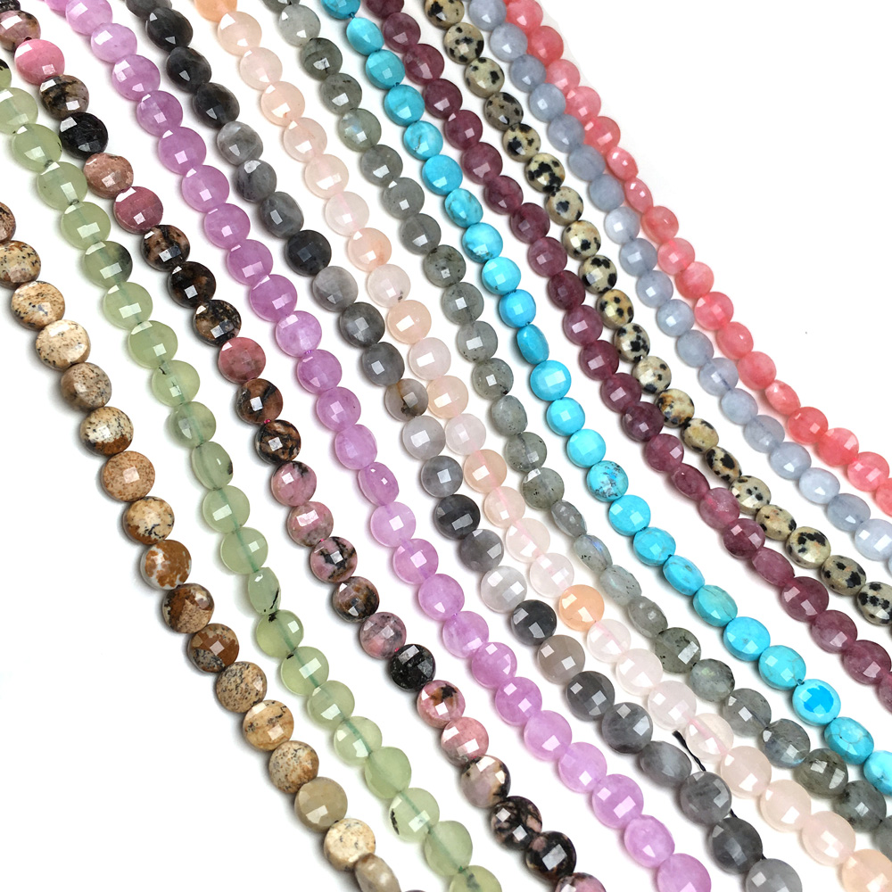 Natural Stone Faceted Flat Scattered Bead Charm Agates Small Beads For Jewelry Making DIY Necklace Bracelet Accessories Size 6mm