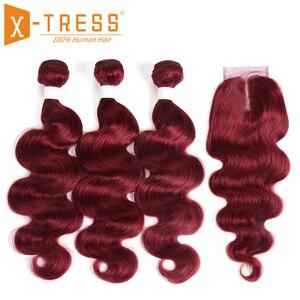 Image 2 - 99J/bordowy czerwony kolor korpus fala ludzkich włosów 3 wiązki z zamknięcie koronki 4x4 X TRESS brazylijski nie remy włosy do przedłużania przedłużanie włosów