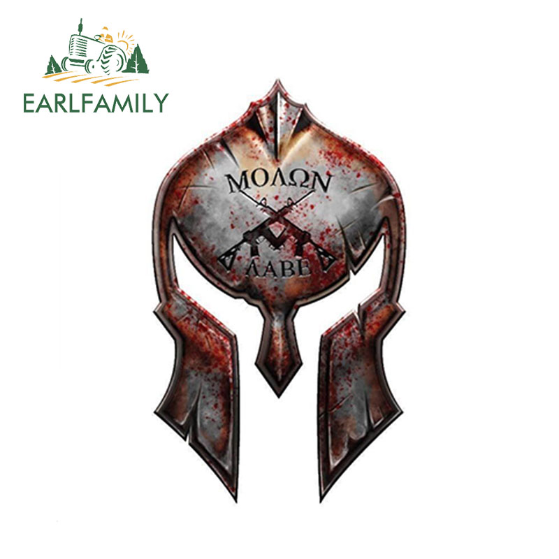 EARLFAMILY 12cm X 7.2cm Molon Labe Spartan Helmet Decal Gun Rights Sticker 2nd Amendment AR15 Military Car Stickers
