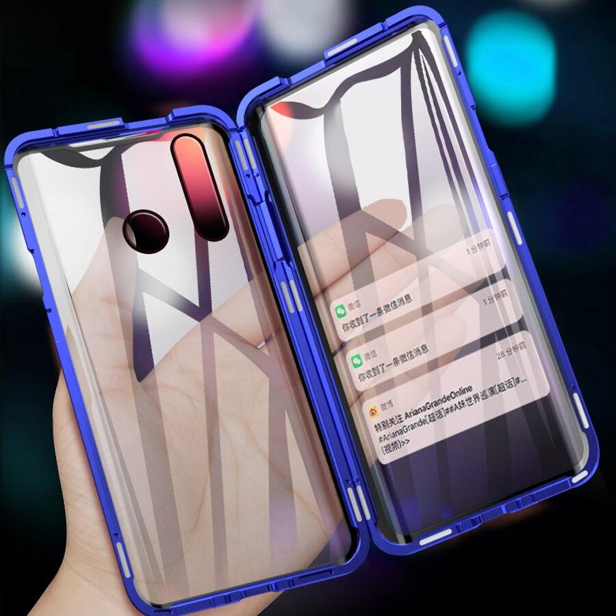 Étui pour huawei P Smart Z avec couverture magnétique complète 360 double couvercle latéral en verre pour y9 2019 aimant en métal pour étui Y9 Prime 2019