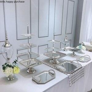 Dessert Table Metal Decorative Display Rack Glass Candy Jar Silver Pearl High Foot Cake Pan Dessert Plate Storage Tray Vase