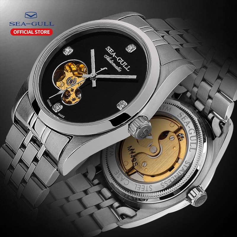 Seagull Watch Men's Automatic Mechanical Watch Steel Belt Waterproof Hollow Fashion Diamond Men's Watch M149SK Edge Series Coupl