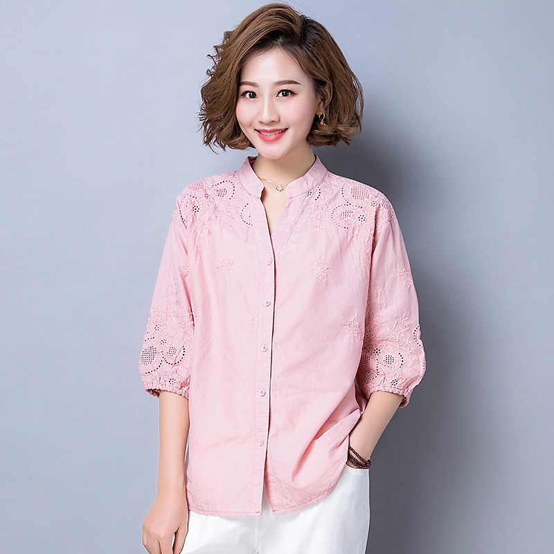 여름 여성의 흰색 셔츠 블라우스 순수한 면화 한국 의류 셔츠 여성 2020 빈티지 여성상의와 블라우스 KJ5722