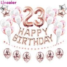 38 pçs número 23 balões de aniversário 23th feliz aniversário 23 anos de idade decorações de festa homem mulher suprimentos 32th 32 anos aniversário