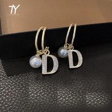 Boucles d'oreilles pour femmes, pendentif classique en forme de D, mode coréenne, nouvelle collection 2020