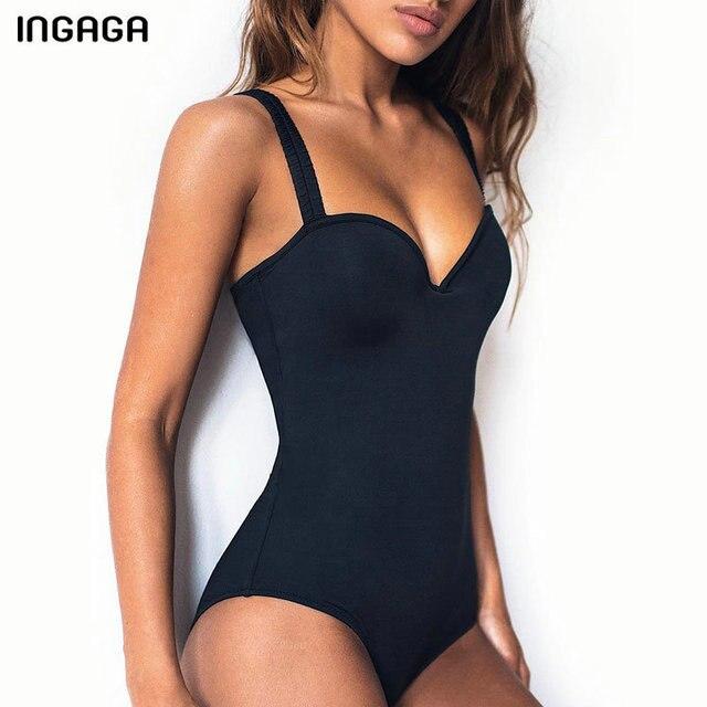 INGAGA Push Up One Piece Swimsuits Black Swimwear Women Solid Bodysuit Bathers 2020 New Bathing Suits Sexy Summer Beach Wear
