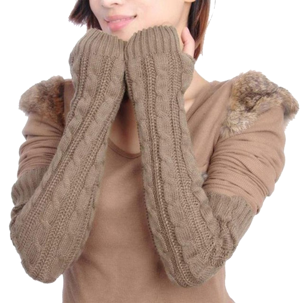 Women's Winter Warm Gloves Knit Long Buttons Openwork Leaf Lace Warm Bracers Fingerless Gloves Khaki Coffee Gray