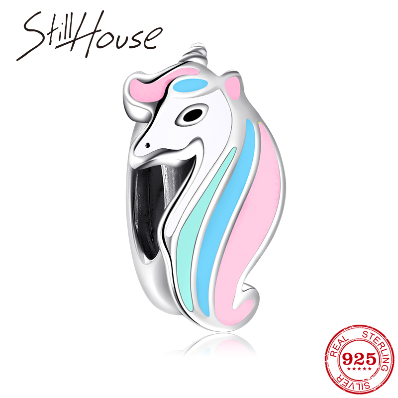 Fit Original Pandora Charms Bracelet 925 Sterling Silver Colorful Hair Enamel Unicorn Spacer Stopper Beads For Jewelry Making