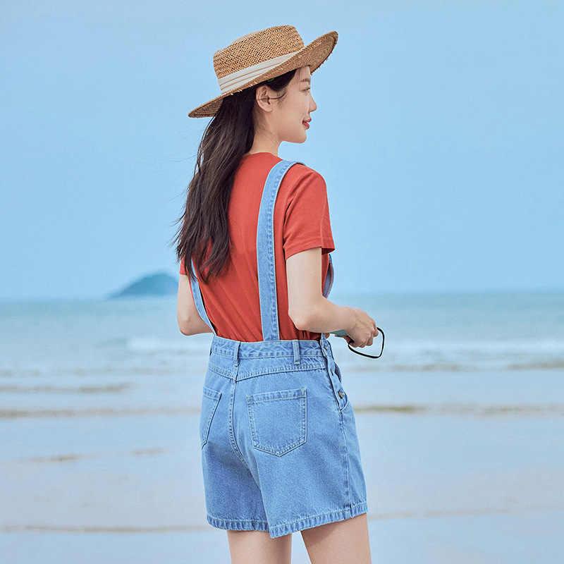 INMAN 2020 Sommer Neue Ankunft Reiner Baumwolle Stickerei Mode Lose Kurze Hosenträger Hose